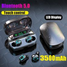 3500mAh LED Bluetooth Wireless Earphones Touch Control Sports Headset Noise Cancelling